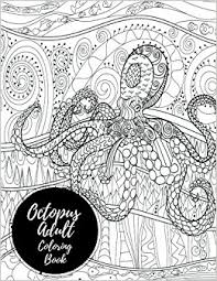 Amazon Octopus Adult Coloring Book Large Stress Relieving Relaxing For Grownups Men Women Easy Moderate Intricate One Sided