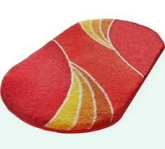details zu badematte rot orangerot gelb orange terra bad garnitur bad teppich neu