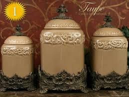 Drake Design Taupe Large Kitchen Canister Set Of 3 Top