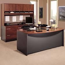bush series c u shaped desk with 4 door hutch and lateral file