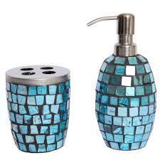Purple Crackle Glass Bathroom Accessories turquoise mosaic glass bathroom accessory set lotion pump