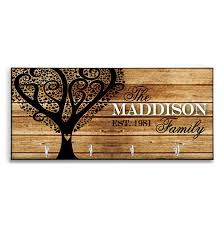 Mothers Day Gift For Mom Tree Personalized Wood Look Key Holder Rack Hanger Custom Heart Housewarming Rustic Home Decor