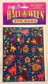 Vintage Lisa Frank Halloween Stickers 72 Count 4 Sheets Witch Cat Candy Corn