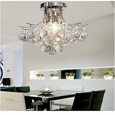 ALFRED Chrome Finish Crystal Chandelier With 3 Lights Mini Style Flush MountCeiling