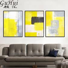 abstrakte stil gelb grau weiß serie leinwand malerei wohnzimmer dekoration minimalismus öl malerei büro poster und drucke