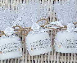 Rustic Shabby Chic Personalised Wedding Candle Favours Candles In Tulle Thank You Gift