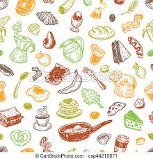 Breakfast Time Pattern Hand Drawn With And