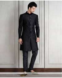 DE Conventional Men Wear Black Jacket With Matching Churidar