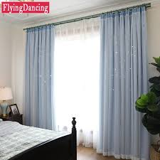 rideau pour chambre enfant moderne originalité creux étoiles 2 couches enfants rideaux pour