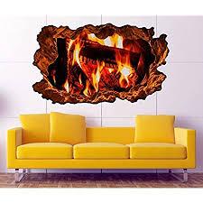 3d wandtattoo lagerfeuer feuer kamin kaminfeuer holz bild wandbild sticker wandmotiv wohnzimmer wand aufkleber 11f138 wandbild größe f ca 97cmx57cm
