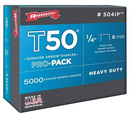 "Arrow Fastener 504ip Genuine T50 Staples - 1/4"", 5000pk"