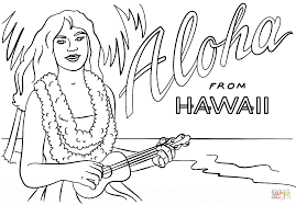 Click The Hawaiian Girl With Lei And Ukulele Coloring Pages