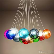 Colorful Glass Ball G4 Led Chandelier Lamp 3 31heads Of Spheres Modern Light Color Bubble Crystal Chandeliers For Room Living Kitchen