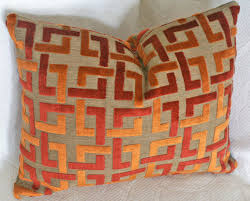 Orange Throw Pillow Contemporary Geometric by PillowThrowDecor
