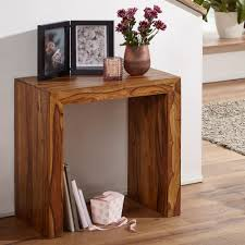 finebuy beistelltisch massivholz 60 x 35 cm wohnzimmertisch design braun landhausstil couchtisch farbe wählbar