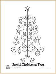 Free Printable Scroll Christmas Tree Coloring Page
