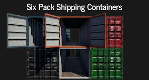 100 Shipping Container Model Lowpoly PBR Six Pack 3D Model
