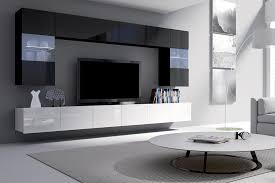 selsey wohnwand wohnzimmer set kirdon groß mit 2 x tv hängeboard 2 x hängevitrinen und 2 x hängeboards weiß matt weiß hochglanz schwarz