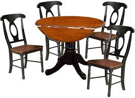 A-America British Isles Round Dining Set In Oak & Black