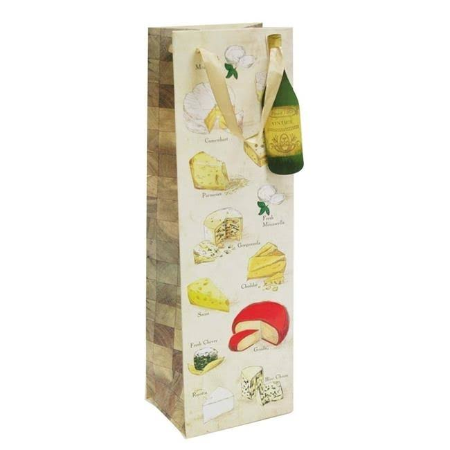 Revel Paper Say Cheese Illustrated Single Bottle Paper Wine Bag - Brown