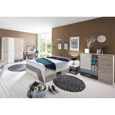 jugendzimmer set mit bett 140x200 cm und schreibtisch 5 teilig leeds 10 in sandeiche nb mit weiß lava und denim blau