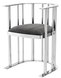 casa padrino designer stuhl mit armlehnen silber dunkelgrau 54 5 x 53 x h 68 cm designermöbel