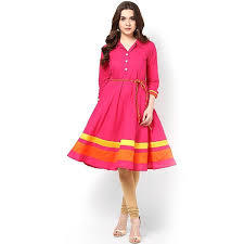 Cotton Lace Work Pink Plain Stitched Frock Style Kurti 198