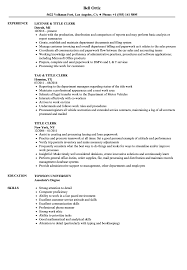 Download Title Clerk Resume Sample As Image File
