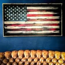 American Flag Wood Wall Art Rustic US