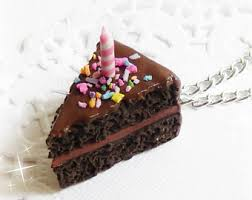 Chocolate Birthday Cake Pendant Cake Slice Cake Necklace Birthday Cake Charm Birthday