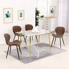 Amazon.com - Ivinta 5PC Modern Glass Dining Table Set Crazy ...