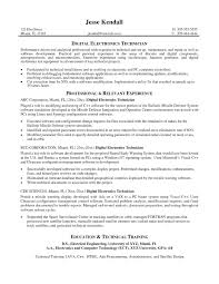Release Management Resume Examples Awesome Electronic Technician Sample Electronics Template