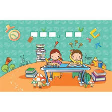 Cute Clip Art Children Learning In Class Room Vector Drawing Illustration Free Download