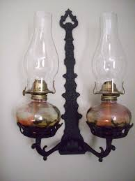 Miniature Oil Lamps Ebay by Vintage Antique Cast Iron Oil Lamp Holder Wall Sconce W Set Of