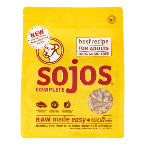 Sojos Beef Recipe Complete Adult Dog Food, 1.75 lb
