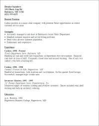 Retail Cashier Resume Sample E Examples Supermarket Or Objective Fast Food Management Example