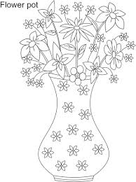 Flower Pot Coloring Printable Page For Kids 6