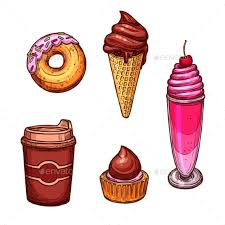 Pastry Desserts and Sweets Vector Sketch Icons