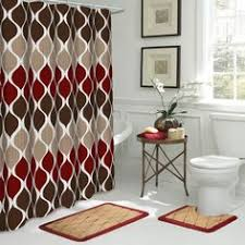 Red And Black Bathroom Rug Set by 3 Piece Bath Rug Set W Shower Curtain And Matching Rings Grey