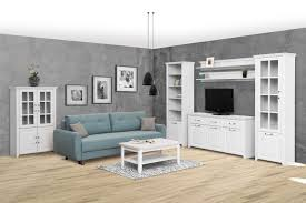 wohnzimmer komplett set c bibaor 7 teilig farbe eiche weiß