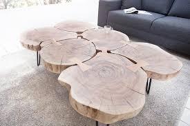 design couchtisch goa 110cm akazie baumstamm scheiben 4cm tischplatte beistelltisch sofatisch wohnzimmertisch