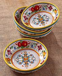 Large Pasta Salad Bowls 315 Oz Each Italy Print Colorful Set Of 4 Earthware