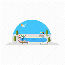 Chilling People Pool Swimming Trees Umbrella Icon