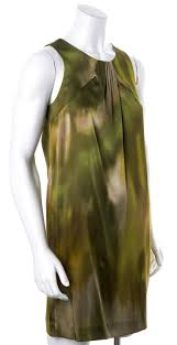 vince olive green beige abstract water color print casual silk