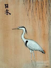 Japanese Crane Painting By Gordon Lavender