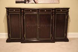 High End Ebony Dining Room Sideboard Or Buffet With Brass Stringing And Inlaid Rosettes Ebonised Flame Mahogany Breakfront Top