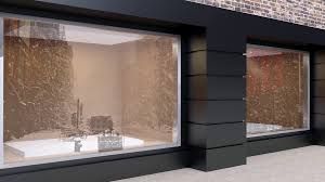 4k The View Of An Empty Shop Window On Winter Street Stock Video Footage