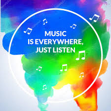 Motivation Circle Watercolor Stroke Poster Background Music Is Everywhere Just Listen Text Lettering Of