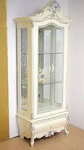 barock vitrine 85x230 weiss gold o silber schrank wohnzimmer neu