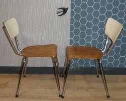 industrielle holz und chrom esszimmerstühle 1950er 2er set